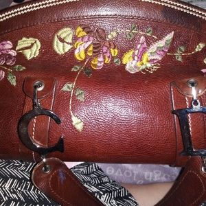 Brown Satchel flower embroidered purse